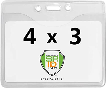"10 Pack Max- 4 3//8 X 4 3//8 by Specialist ID 4/"" X 4/"" Large Vinyl Badge Holders"