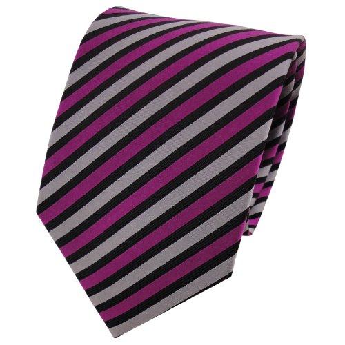 TigerTie cravate en soie magenta argent noir rayé - cravate en soie