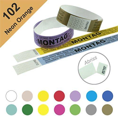 Einlassbänder, Kontrollbänder aus Tyvek – wasserfest, sicher, reißfest - 19mm, bedruckt, Motiv Montag (100 Stück Neon Orange)