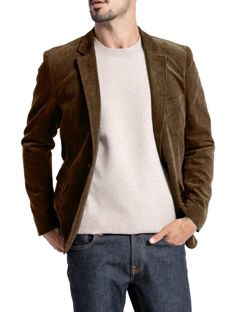 Mens Corduroy Blazer Slim Fit Casual Vintage One Button Pocket Lapel Solid Suits Jacket Brown by Pretifeel