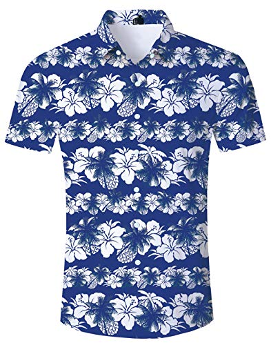 (Loveternal Boys Short Sleeve Hibiscus Shirts Button Down Ugly Shirt Blue Tropical Flower Funky Hawaiian Shirts for Men Awesome Button Up Vintage Hibiscus Tiki Shirt Hawaiian Attire XL)