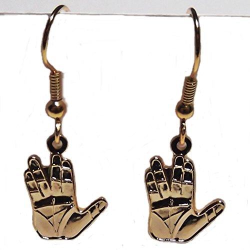 [Star Trek Original Series Vulcan Hands Salute Goldtone French Wire Earrings] (Spok Ears)