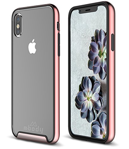 Mbody by Aduro iPhone X/Xs Case, Selenium 2-Layer Protection Metallic Edge Frame with Inner Rubber Shell Case for Apple iPhone X/Xs/iPhone 10 (2018/2017) (Rose Gold)