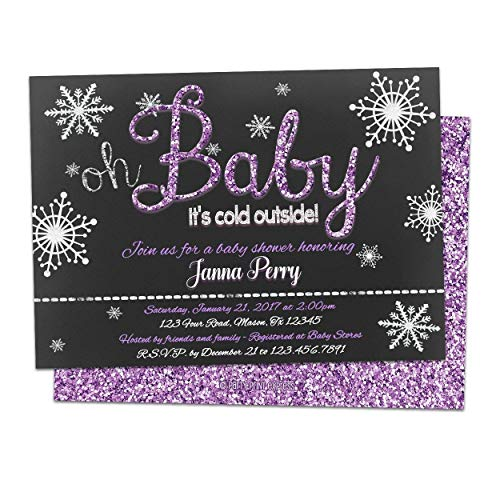 Oh Baby Its Cold Outside Baby Shower Invitations Purple Glitter Girl (Oh Baby Its Cold Outside Baby Shower Invitations)