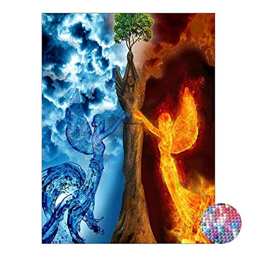 LIPHISFUN DIY 5D Diamond Painting by Number Kit for Adult, Full Round Resin Beads Drill Diamond Embroidery Dotz Kit Home Wall Decor,30x40cm,Fire Ice Phoenix