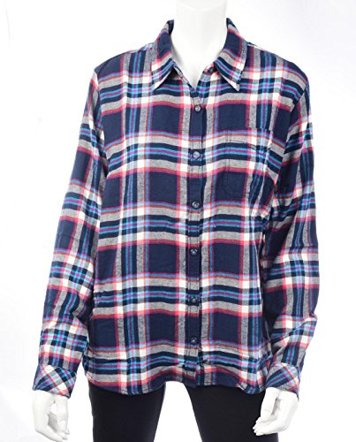 Dickies Women's Long-Sleeve Plaid Flannel Shirt, Black Iris/Texas Topez, Medium