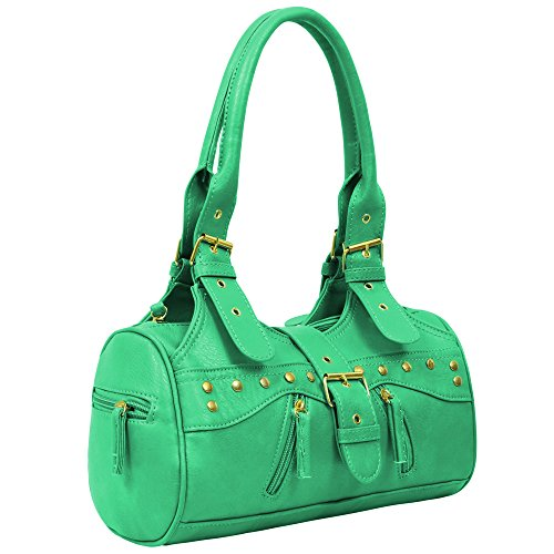 Tote Womens Faux Leather Designer Miami Apple Ladies Handbag Green Shoulderbag vaUHqxw