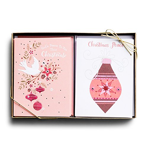 (Christmas Boxed Cards - Dove with Ornaments - Pink Ornament - 24 Card Dual Pack)