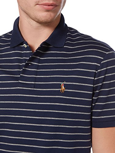Polo Ralph Lauren Men's Pony Logo Striped Interlock Polo Shirt (M, French Navy/MC - Shirt Striped Polo Ribbed