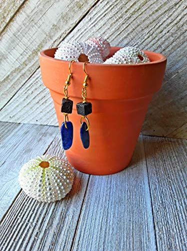 (Lapis Lazuli and Lava Stone Essential Oil Diffuser Earrings Gold )