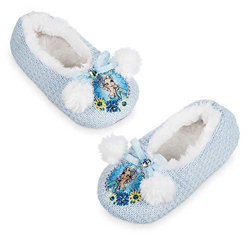 Disney Store Girls Elsa - Frozen - Slippers, Blue, Size 11/12