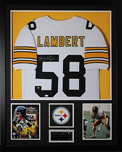 Jack Lambert Autographed White Steelers Jersey - Beautifully Matted and Framed - Hand Signed By Jack Lambert and Certified Authentic by Auto JSA COA - Includes Certificate of - Hand Steelers Signed Jersey