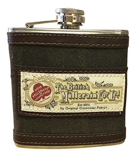 Vintage Mens Harris Tweed - Mens 6oz Stainless Steel and Harris Tweed Patterned Hip Flask in gift box (Vintage Brown 7036)