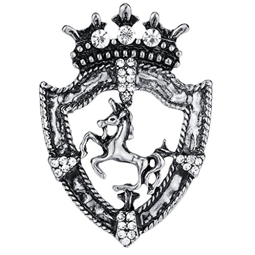 ntage Brooch Crystal Unicorn Badge Men Mental Brooches Jerelry - Antique Silver ()