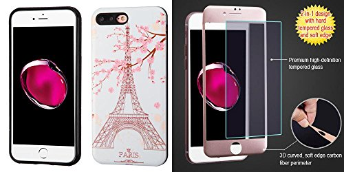 Price comparison product image Combo pack Paris Eiffel Tower/Black Advanced Armor Protector Cover(3D Pattern) for APPLE iPhone 7 Plus And 3D Curved Soft Edge Carbon Fiber Tempered Glass Screen Protector/Rose Gold for APPLE iPhone 7