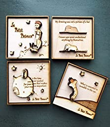 The Little Prince Wood Engraved 3D Magnet set - multi-layered / Le Petit Prince
