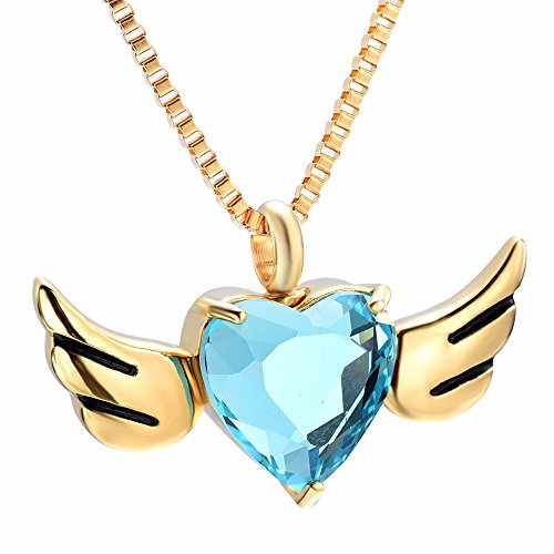(Angel Wing Cremation Urn Jewelry Glass Heart Memorial for Ashes Necklace Keepsake Urns Pendant Gift (Gold with Light Blue Stone))