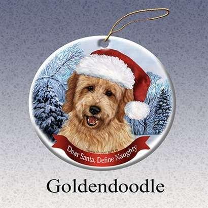 Tree Ornament Dog Christmas Holiday - Holiday Pet Gifts Goldendoodle Santa Hat Dog Porcelain Christmas Tree Ornament