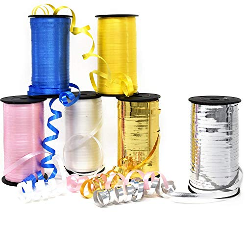6 Curling Ribbon Rolls 600 Yards Assorted Colors Royal Blue Yellow Pink White Metallic Gold & Silver 3/16 Wide By 300 Feet Balloon Curly String Spool For Birthday Party Wrapping and Crafts Supplies