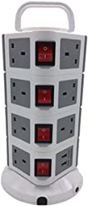 Vertical Power Strip 4 layers, 15 outlets with 2 USB ports, 5 Meter, Grey, DZ-614