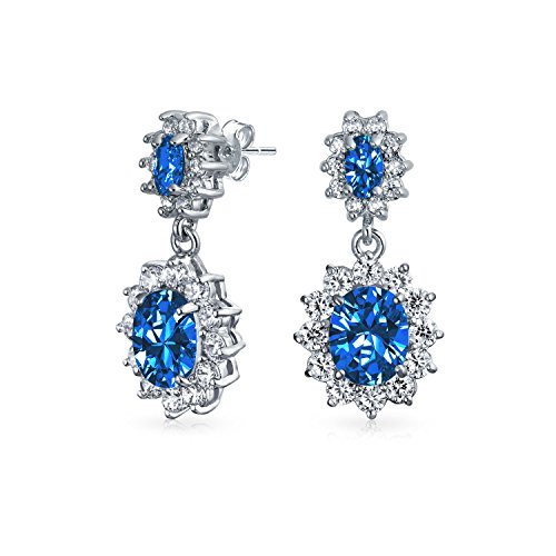 Simulated Sapphire CZ Oval Crown Rhodium Plated Drop Stud Earrings -