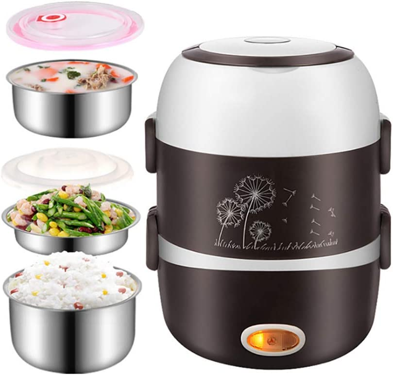 MTSBW Rice Cooker, Multi-Function Rice Cooker, Stainless Steel Liner, Egg Cooker Steamer, Food Insulated Lunch Box, 2L Capacity, Easy to Clean, Full Rice Cooking Taste