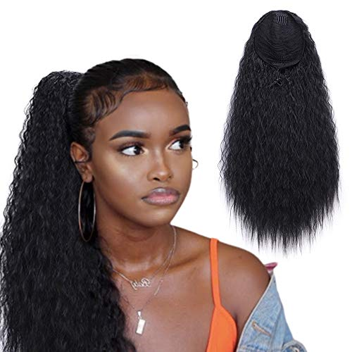 Stamped Glorious 22 Inch Curly Ponytail Extension Long Curly Drawstring Ponytail for Women Synthetic Corn Wavy Drawstring Ponytail Extensions Hair Pieces for ()
