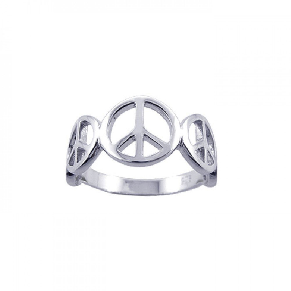 Rhodium Plated Sterling Silver Half Band Peace Sign Ring