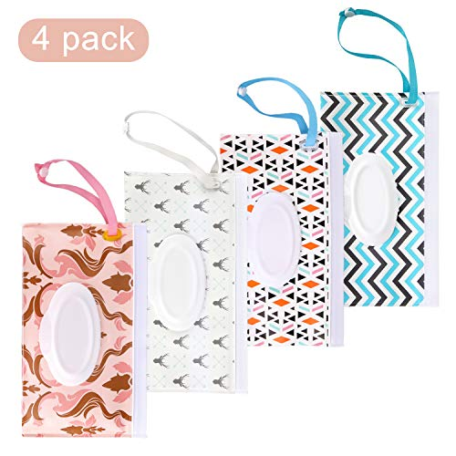 Wet Wipe Pouch, 4 Pack Reusable Baby Wipes Travel Case, Eco-Friendly and Lightweight Wipes Holder to Keep Wipes Moist