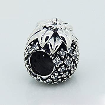 41dbac172 Image Unavailable. Image not available for. Color: 925 Sterling Silver Sparkling  Pineapple Charm Bead Fit European Pandora Bracelets