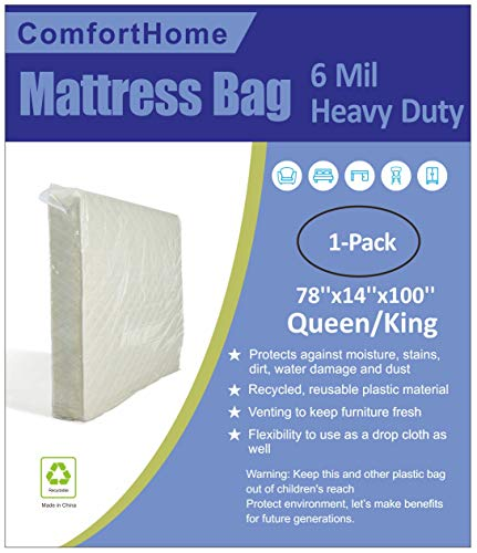 ComfortHome 6 Mil Heavy Duty Mattress Bag for Moving and Storage, Queen/King Size, 1-Pack