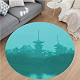 Nalahome Modern Flannel Microfiber Non-Slip Machine Washable Round Area Rug-es above the Sea Holy Tank in Fog Symbolic Faith Custom Pagoda Monochrome Print Turquoise area rugs Home Decor-Round 79''