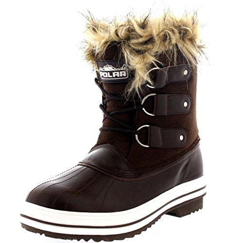 POLAR Suede Rain Cuff Shoe Short Brown Womens Boots Sole Waterproof Snow up Winter Rubber Lace 6p6vrxq