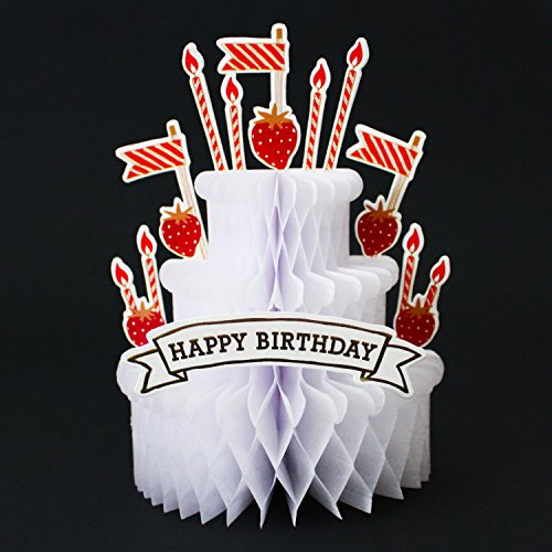 Happy Birthday Strawberry Cake Honeycomb Pop Up Decorative Greeting Card Decorate That Special Birthday Cake