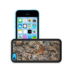 Animals Six Tigers Family on Rock iPhone 5C Snap Cover Premium Leather Design Back Plate Case Customized Made to Order Support Ready 5 inch (126mm) x 2 3/8 inch (61mm) x 3/8 inch (10mm) MSD iPhone_5C Professional Case Touch Accessories Graphic Cover hjbrhga1544