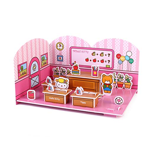 a81d20a16 NEILDEN Hello Kitty 3D Scene Jigsaw Puzzle - Beautiful Campus - Happy  Classroom, Suitable for