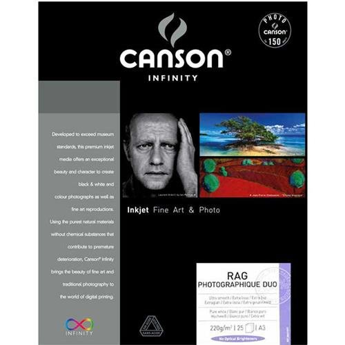 Canson Infinity Rag Photographique Duo 220gsm, doublesided Ultra-Smooth Matte Inkjet Paper, A3+, Box of 25 - Photo Duo Rag