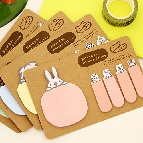 MiiSii(TM) 4 Packs Cute Cartoon Kawaii Animals Rabbit Dog Sheep Pig Post-it Self-Stick Memo Sticky Notes Pads (4 Booklets Each With 1 Big, 4 Small, 25 sheets each) + FREE GIFT