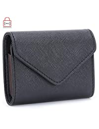 MuLier RFID Blocking Womens Leather Card Case Wallet Envelope Card Wallet Purse (Black)