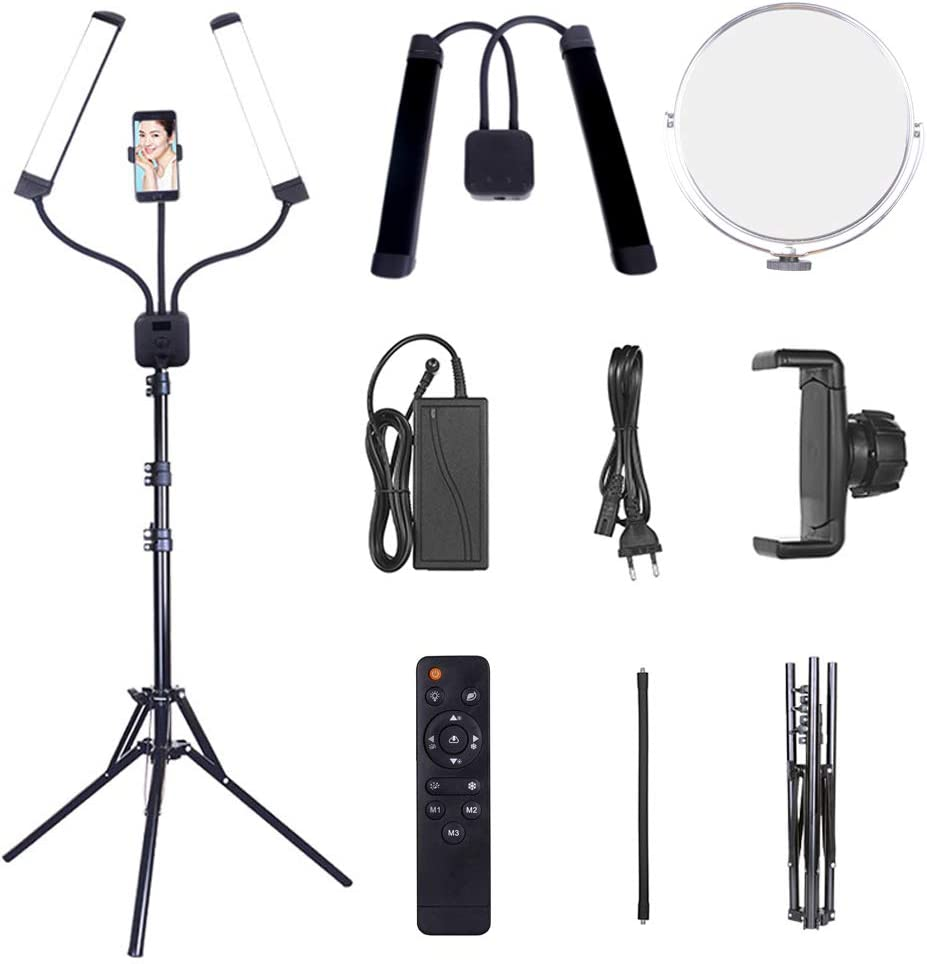 COOLAPA LED Ring Light 10 with Tripod Stand /& Phone Holder for Live Streaming /& Youtube Video Dimmable Desk Makeup Ring Light for Photography Shooting with 3 Light Modes /& 10 Brightness Level