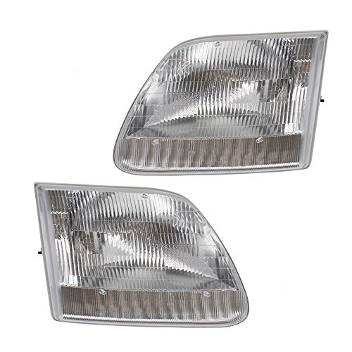 Pair Set Headlights Headlamps Replacement for Ford F-Series Pickup Truck Expedition SUV 3L3Z13008DA 3L3Z13008CA