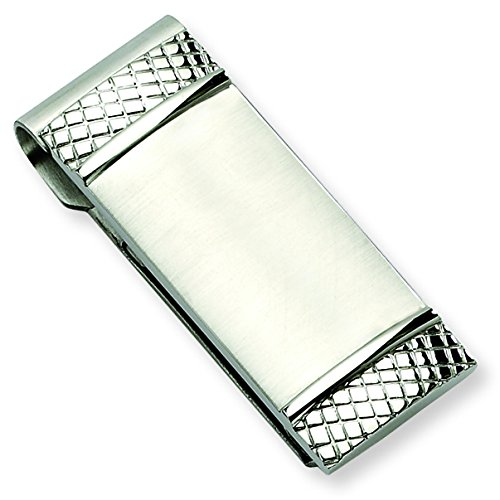 and Money Clip Steel Stainless Length Brushed mm Textured 47 FES6q