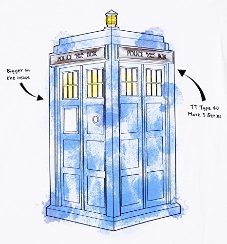 Mens White Doctor Who TARDIS Watercolour T Shirt