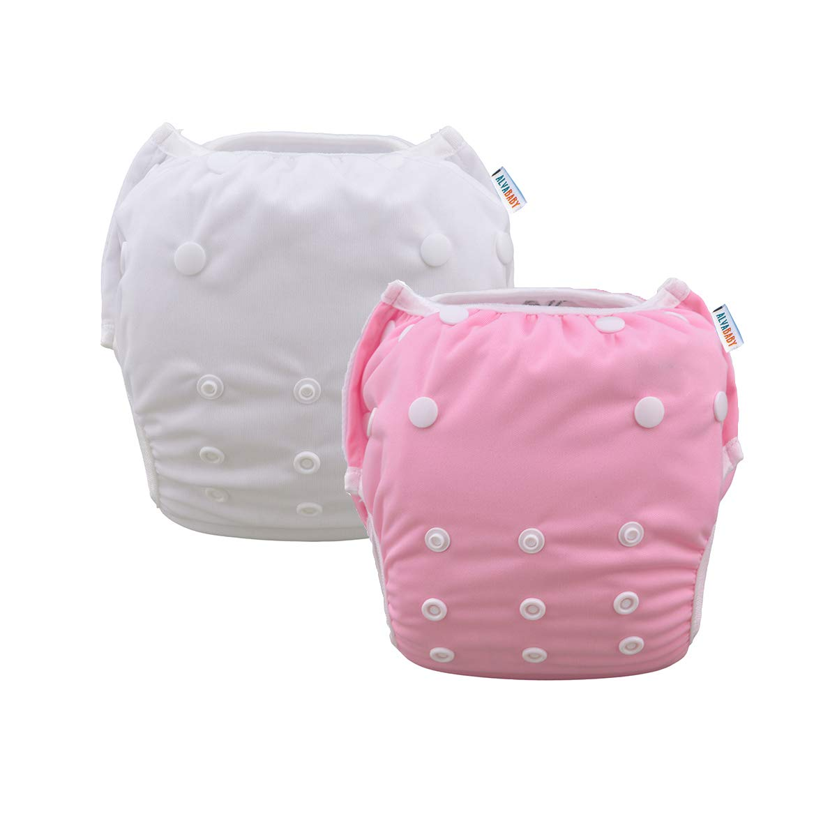 ALVABABY Swim Diapers 2pcs Reuseable /& Adjustable for Baby Swimming Lessons Flowers, one Size 0-2 Years Old