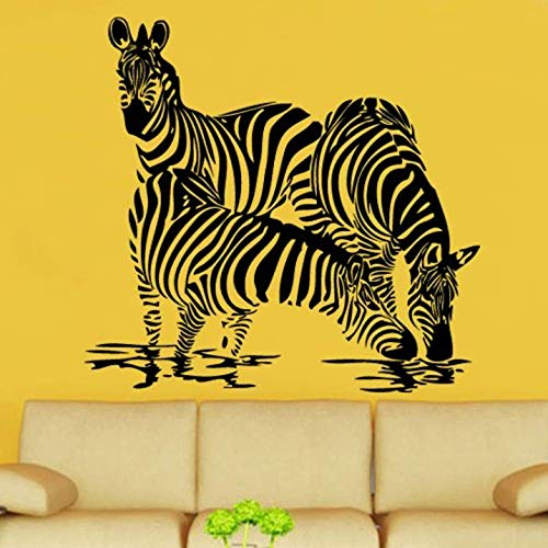 Wildlife Trio - FSDS Wall Vinyl Stickers - Zebra Trio Decal Vinyl Wall Sticker Art Wildlife Decor Room - Home Decoration Wall Decals