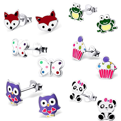 925 Sterling Silver (SET OF 6 Pair) Assorted Cuties Animals & Cupcake Stud Earrings (Nickel Free) (Animal Silver Jewelry Set)