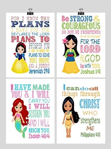 (Princess Inspirational Nursery Decor Set of 4 Prints - Snow White, Mulan, Ariel and Pocahontas)