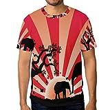 DEYYA Men 3D Print Elephants In Africa Graphic Tee Custom Short Sleeve T Shirt