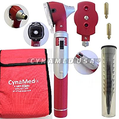 Otoscope - Compact Pocket Size Fiber optic ENT Diagnostic + 2 free extra replacement bulbs - Red Color
