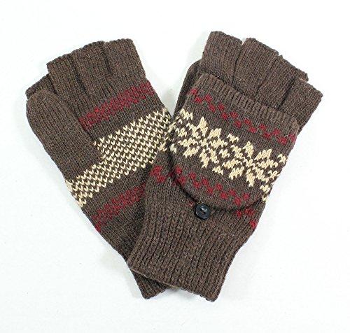 Womens Snowflake Convertible Gloves - LL - Fingerless Flipover Snowflakes Wool Blend Women's Mitten Winter Gloves (Dark brown)